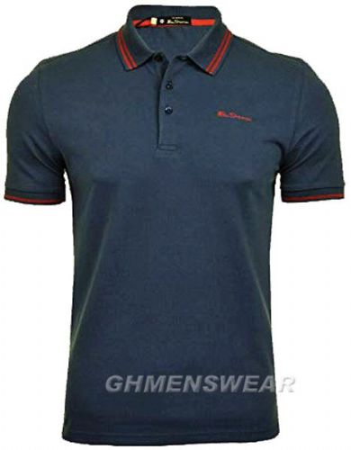 BEN SHERMAN TIPPED POLO SHIRT - NAVY
